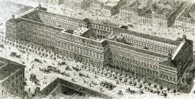 Il Ministero delle Finanze a Roma, veduta a volo d?uccello, litografia, 1881