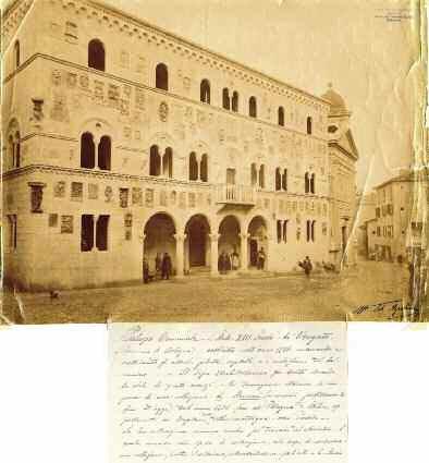 Veduta del prospetto del nuovo Palazzo Comunale di Vergato (Tito Azzolini), fotografia all?albumina