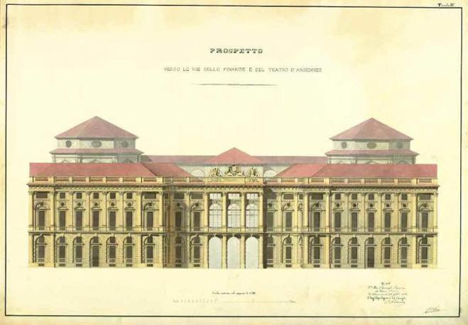 Andrea Crida, prospetto di Palazzo Carignano (Torino) verso le vie delle finanze e del teatro d?Angennes, 22 sett. 1860