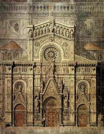Errico Alvino, progetto per la facciata del Duomo di Firenze, tempera su tela, 1864