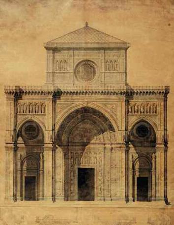 Alessandro Antonelli, progetto per la Facciata del Duomo di Firenze, china e acquerello su carta, 1864