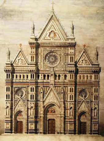 Emilio de Fabris, progetto per la facciata del Duomo di Firenze, china e acquerello su carta, 1863-64
