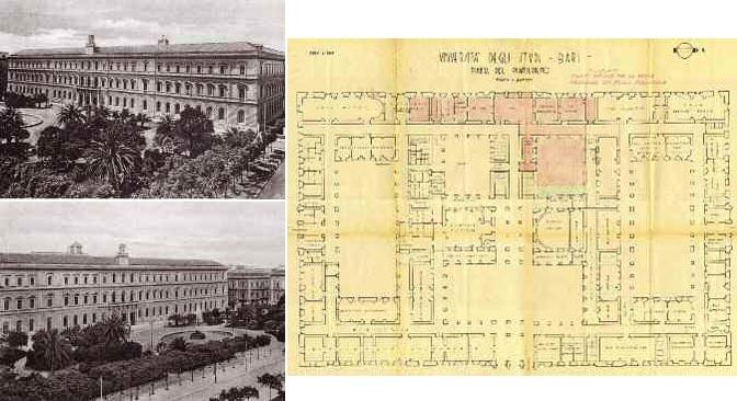 A sinistra: Palazzo dell?Ateneo di Bari (Giovanni Castelli), poi Università, nel 1925