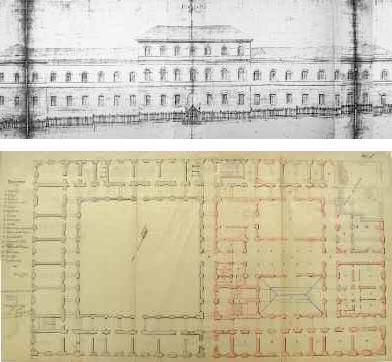 In alto: Giulio De Angelis, Convitto Nazionale Mario Pagano di Campobasso, prospetto, disegno datato 1895 e firmato dall?ing. Gandolfi