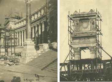 A sinistra: Il Monumento a Vittorio Emanuele II a Roma (Giuseppe Sacconi) un mese prima dell?inaugurazione nel 1911