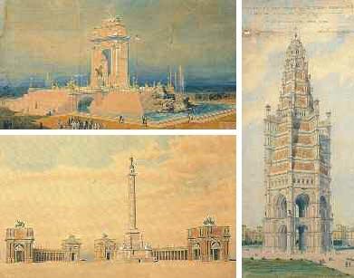 In alto a sinistra: Giuseppe Vigna e Giuseppe Pinotti, Progetto per il concorso per il Monumento a Vittorio Emanuele II in Roma, 1881