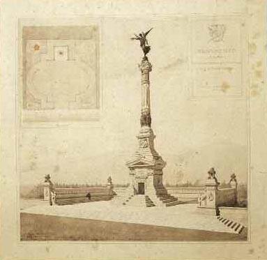 Manfredo Manfredi, vista prospettica e pianta della piazza del Monumento alla memoria dei caduti del Volturno a Santa Maria Capua Vetere