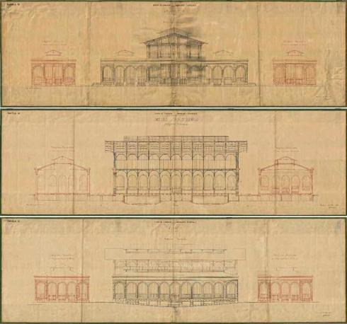 Dall'alto: Giuseppe Mengoni, facciata su via dell?Ariento e prospetto laterale del Mercato Centrale di San Lorenzo a Firenze, 1869