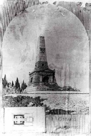 Ernesto Basile, pianta e prospettiva dell?Ossario dei Caduti nella battaglia di Calatafimi, 1885