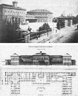 In alto:  Il fabbricato viaggiatori e il piazzale della Stazione ferroviaria di Bologna (Gaetano Ratti), 1895