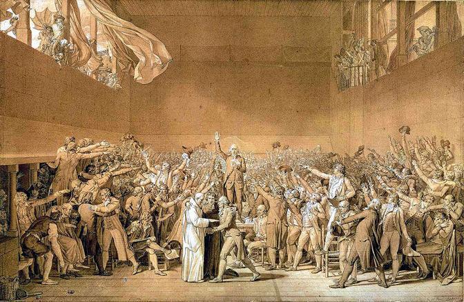 Jacques-Louis David, «Il giuramento della pallacorda», 1791, Musée national du Château de Versailles (Wikimedia Commons)