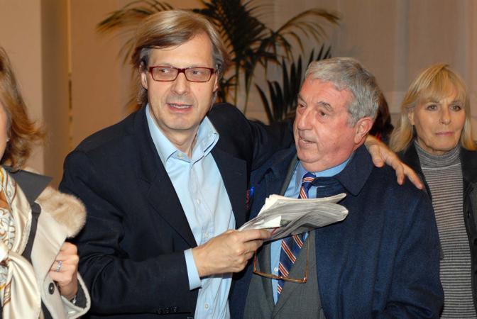 Sergio Bonelli con Vittorio Sgarbi (Milestone Media)