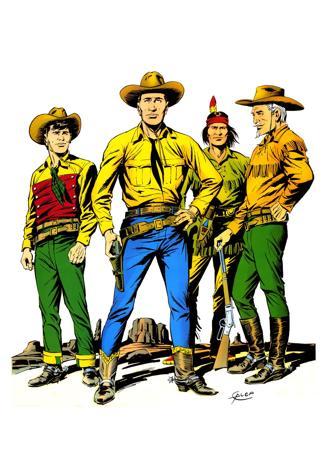 """Tex Willer e suoi tre pard. Invenzione del padre Gianluigi, anno'48, Tex è stato poi ereditato da Sergio che lo ha """"consolidato"""" fino a farlo diventare il personaggio più popolare del fumetto italiano"""