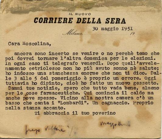 Lettera di Eugenio Montale a «Moscolina», 30 maggio 1951 (Fondo Manoscritti di Pavia)
