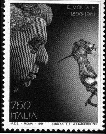 Francobollo commemorativo del centenario della nascita di Eugenio Montale, 1996 (foto Ansa)