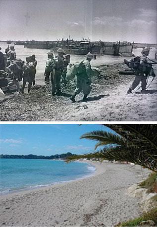 Operazione di sbarco alleato lungo la spiaggia di