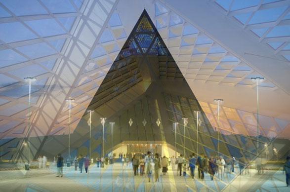Ad Astana, capitale del Kazakhstan, la città costruita dal nulla nella steppa asiatica, a marchiare il paesaggio urbano è la forma piramidale che Lord Norman Foster, già ideatore della cupola del Reichstag di Berlino, ha dato al Palazzo della Pace e della Riconciliazione