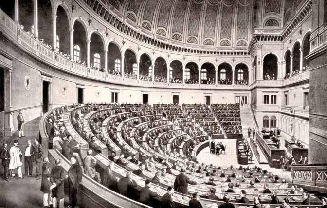La prima aula della Camera a Torino, Palazzo Carignano 1861-1865