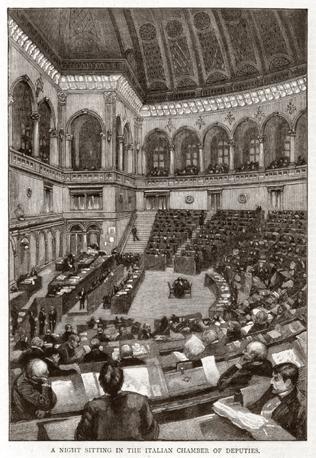 La prima seduta della Camera a Montecitorio nell'Aula Comotto 27 novembre 1871