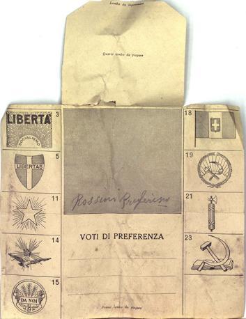 La prima scheda di voto stampata dallo Stato-1924