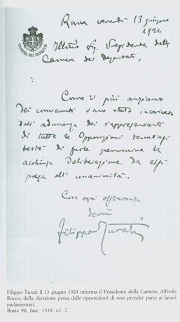 La deliberazione dei deputati aventiniani dopo il rapimento di Matteotti 13 giugno 1924