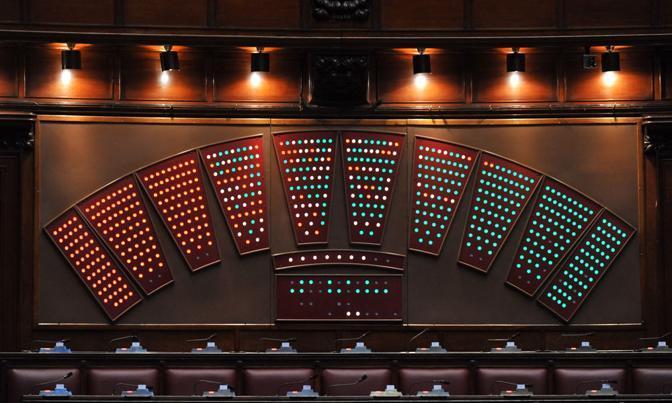 Il tabellone elettronico delle votazioni in Aula