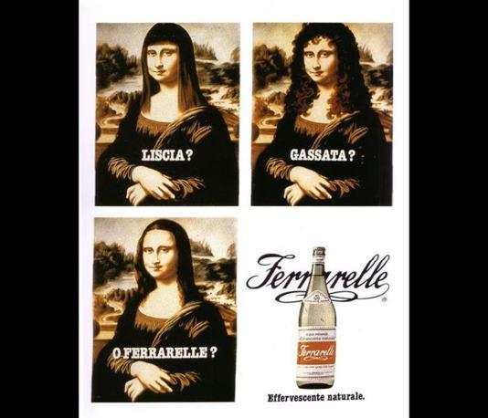 La  fortunata campagna del 1981 dell?acqua Ferrarelle abbinata alla Gioconda di Leonardo da Vinci proposta nelle tre versioni liscia, gassata o Ferrarelle