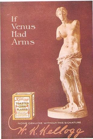 Kellogg?s nel 1910 utilizzò la Venere di Milo per vendere i cereali che la Venere prenderebbe «se avesse le mani»