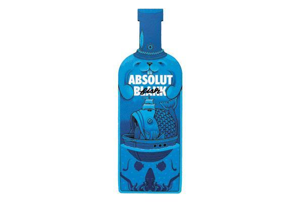 La bottiglia disegnata da Jeremy Fish per la collezione «Absolut Blank»