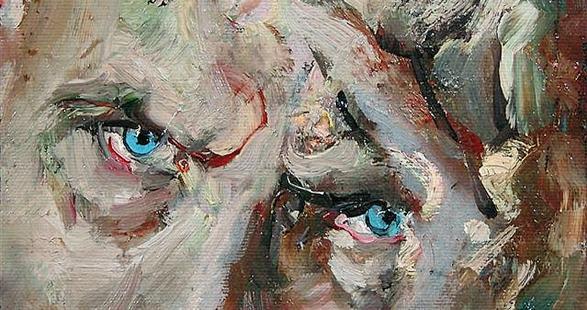 Un particolare del ritratto di Giovanni Testori di Giancarlo Vitali