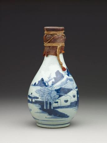 Ampolla di porcellana cinese per l?acqua di Zamzam (XIX sec.)