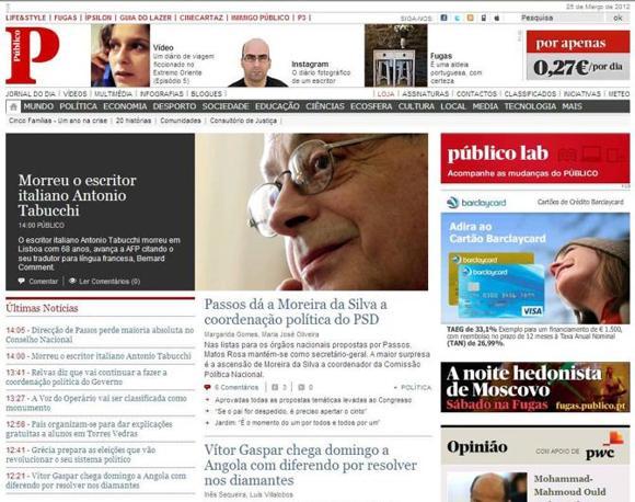 Antonio Tabucchi era molto amato a Lisbona. Tutti i giornali portoghesi hanno dato largo spazio alla scomparsa dello scrittore, mettendolo tra le prime notizie, se non di apertura. Ecco Publico