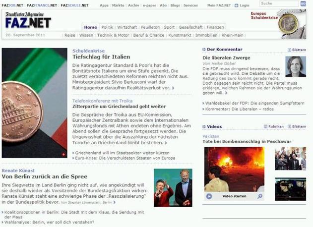 Notizia di apertura anche per la Frankfurte Allgemeine...