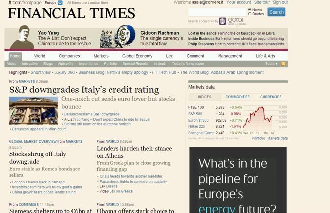 ...per il Financial Times di Londra...