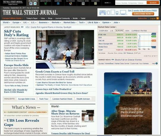 ...e per il suo antagonista americano Wall Street Journal