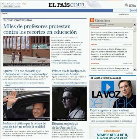 La notizia è in evidenza nell'home page dello spagnolo El Pais