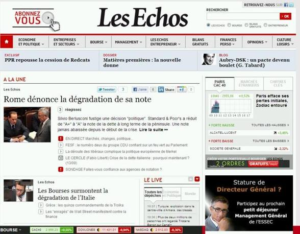 ...e anche sul sito del quotidiano economico francese Les Echos