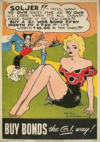 Anche i vignettisti e gli autori di fumetti misero la loro matita al servizio dei prestiti: in questo caso è Al Capp con alcuni personaggi della serie Lil' Abner (Usa, seconda guerra mondiale)