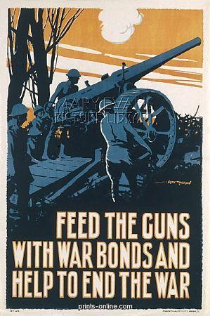 «Alimenta i cannoni con i buoni di guerra e aiuta a far finire la guerra» (Gran Bretagna, Prima Guerra mondiale)
