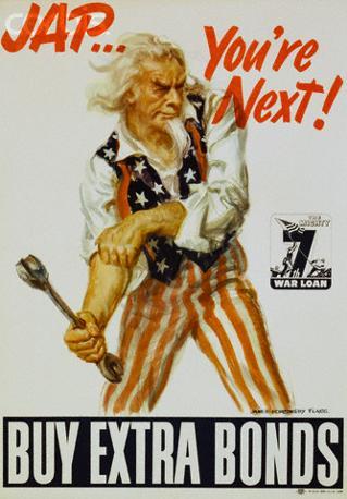 «Giapponese... tu sei il prossimo, compra i buoni di guerra», dice un bellicoso zio Sam (Stati Uniti, Seconda guerra mondiale)