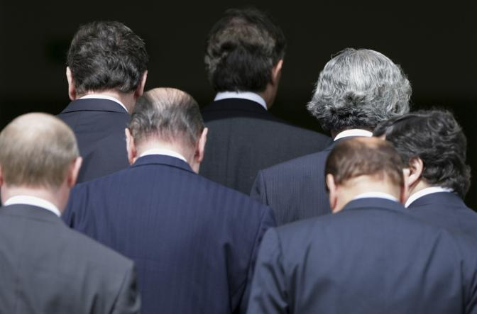 Luglio 2005: i leader del G8 rientrano in hotel al termine dei lavori a Gleneagles, in Scozia (Kevin Coombs/Reuters)