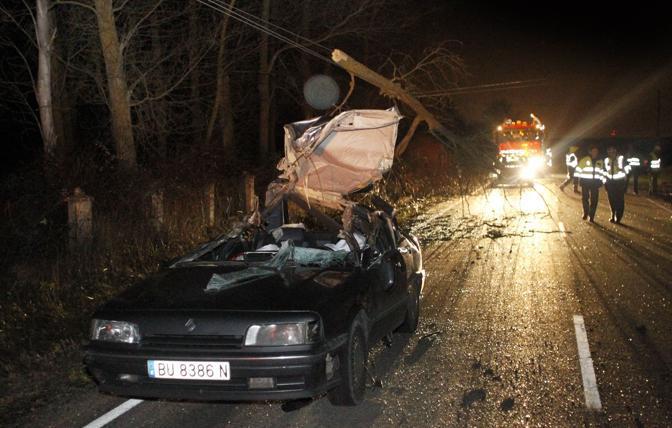 Arlanzon, Spagna: albero crollato per l'uragano schiaccia un'auto, due morti (Ap)