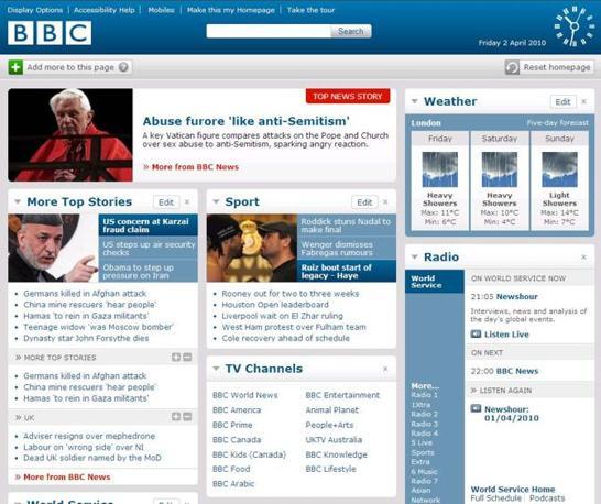 L'home page della Bbc