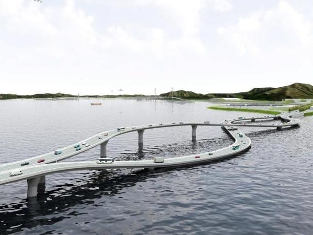 """Il progetto del ponte """"Flipper"""", messo a punto da un gruppo di architetti olandesi per collegare Hong Kong alla terraferma cinese: sull'isola si guida sul lato sinistro della strada, in Cina il senso di marcia è a destra"""