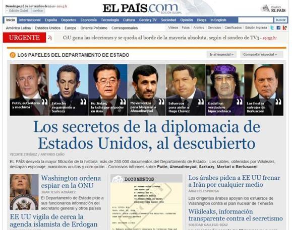 le nuove rivelazioni di Wikileaks, le prime pagine di siti e giornali. Lo spagnolo «El Pais» titola sul sito web: «I segreti della diplomazia degli Stati Uniti, allo scoperto»