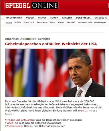 Una immagine di Der Spiegel online «Così l'America vede il mondo»