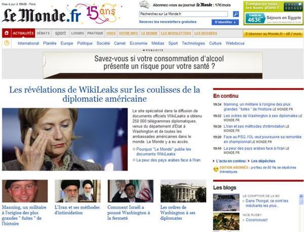 Il sito del francese «Le Monde»: «Le rivelazioni do Wikileaks sulle pieghe della diplomazia americana»