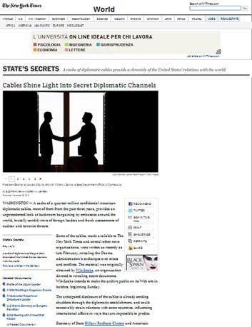 L'articolo del New York Times online sui «canali diplomatici segreti»