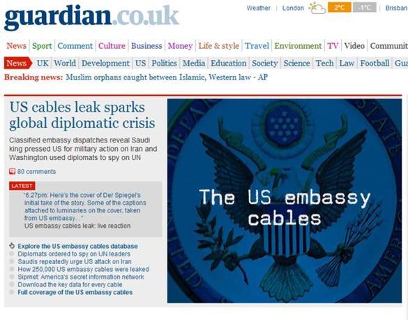 L'homepage del britannico Guardian