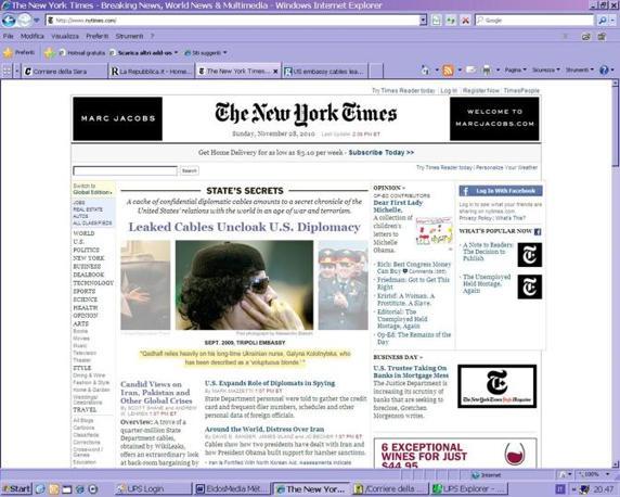 Il sito del New York Time e le rivelazioni sulla «bionde voluttuose» alle quali si accompagna  il colonnello libico Gheddafi